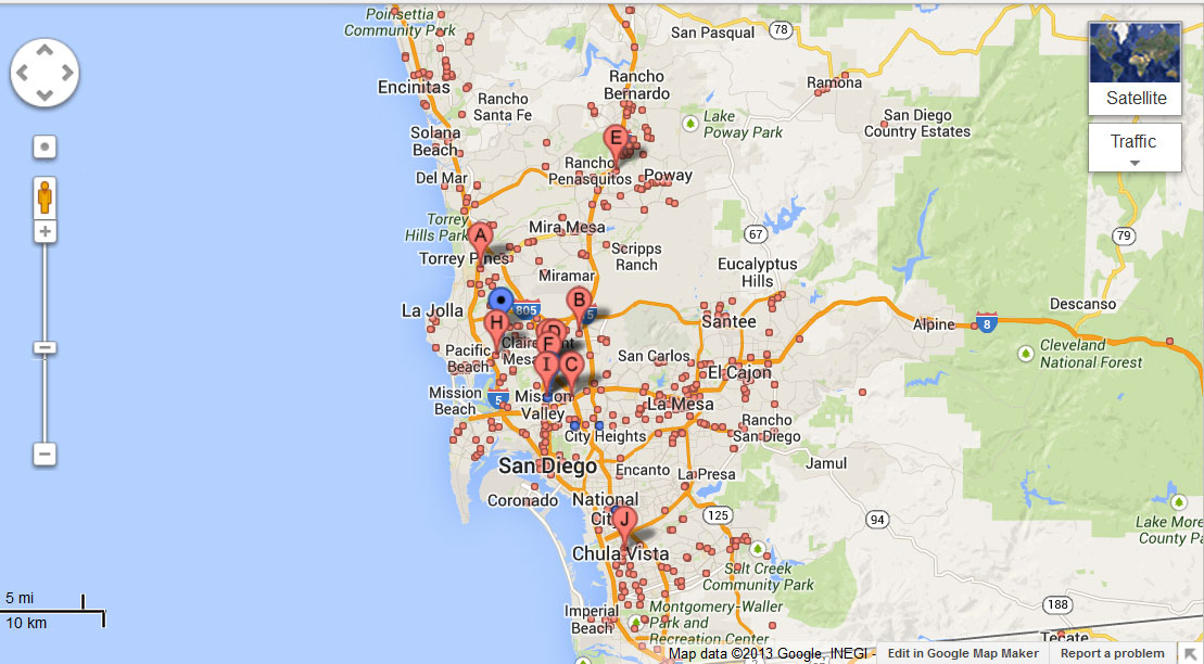 San Diego Map Of Available Dentists